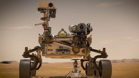Mars-Rover Perseverance mit der Drohne Ingenuity