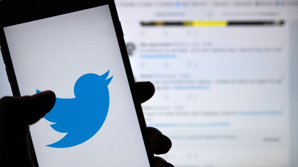 Das Logo des sozialen Mediums Twitter ist auf dem Display eines Smartphones zu sehen