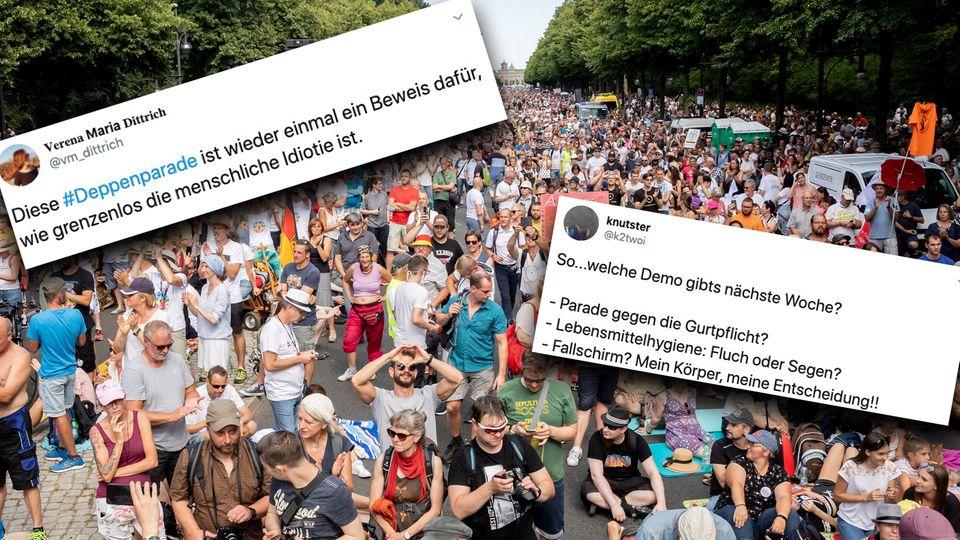 Berlin: Dicht gedrängtstehenTausende bei einer Kundgebung gegen die Corona-Beschränkungen.