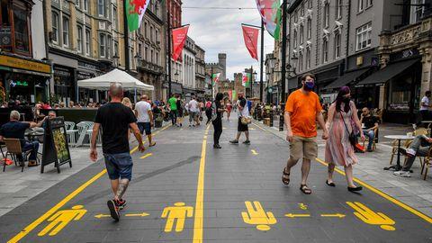 Fußgängerzone in Cardiff während der Corona-Pandemie