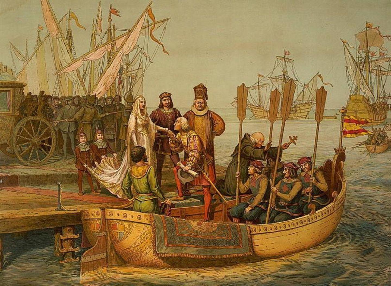 3. August 1492: Es beginnt eine Reise, nach der die Welt nie mehr dieselbe sein sollte  Mit drei Schiffen stachChristoph Kolumbus vor 528 Jahren vom andalusischen Huelva aus in See und erreichte nach einem Zwischenstopp auf der Kanareninsel Gomera dann am 12. Oktober 1492 die Bahamas. Der amerikanische Kontinent war somit für Europaentdeckt –auch wenn Kolumbus damals glaubte, einen transatlantischen Seeweg nach Indien gefunden zu haben. Im Nachhinein wurde seineReisezu einem der bedeutungsvollsten Ereignisse der neuerenGeschichte. Das Datum dieses Schlüsselereignisses wird von vielen Historikern gar als Epochengrenze zwischen Mittelalter und Neuzeit gesehen.  Die bunte Chromolithographie von L. Prang & Co, die1893 in Bostonveröffentlicht wurde, zeigt eine imaginäre Szene, in der Christoph Kolumbus sich bei seiner Abreisevon der Königin von Spanien verabschiedet.