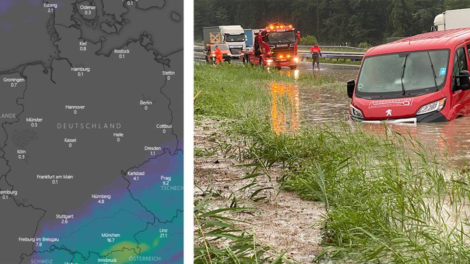 Unwetterlage hält an: Starkregen und Überflutungen in Bayern: Sehen Sie, wo gerade besonders viel Niederschlag fällt