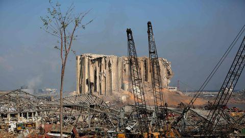 Beirut - Blick auf die Explosionsstelle im Hafen