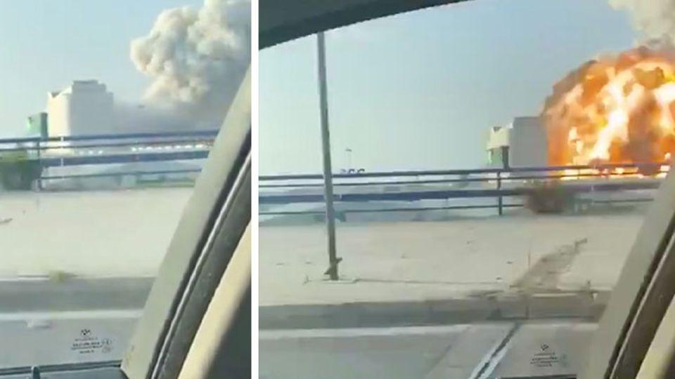 Videoaufnahme aus Auto von Explosion in Beirut