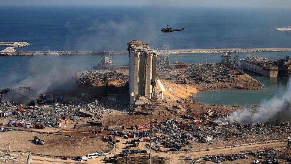 Der Hafen von Beirut nach der verheerenden Explosion