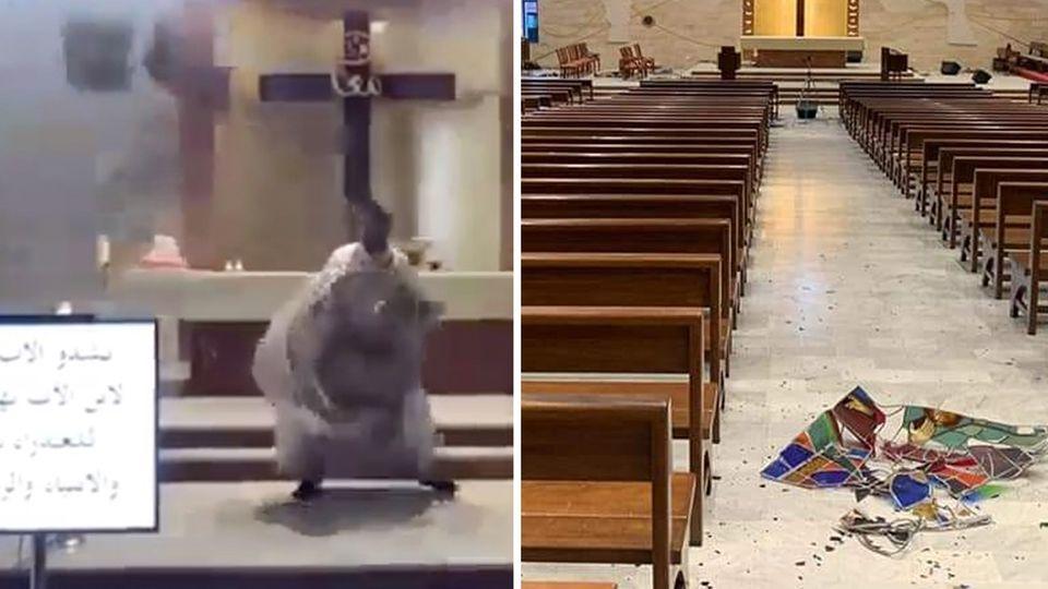Beirut: Ein Priester weicht fallenden Trümmern in seiner Kirche während der Explosion aus.