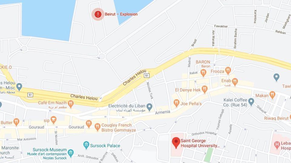 Die Karte zeigt das St. Georges Krankenhaus in Beirut und den Ort der Explosion.