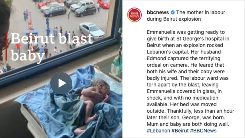 Instagram-Post der BBC zur Explosion in Beirut