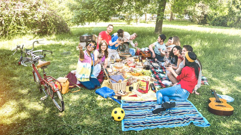 Eine Gruppe Teenager beim Picknick