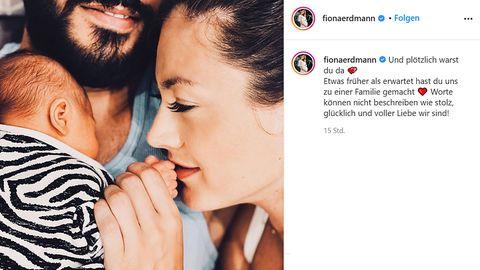 Fiona Erdmann bestätigte auf Instagram die Geburt ihres Sohnes