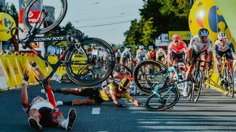Der schwerverletzte Radprofi Fabio Jakobsen ist auf dem Bikd nicht zu sehen.