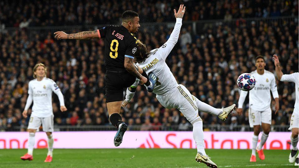 Real-Verteidiger und Kapitän Sergio Ramos sah beim Gegentor durch Gabriel Jesus von Manchester Cityim Hinspiel nicht gut aus