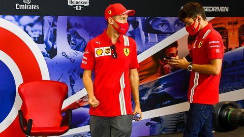 Sebastian Vettel und Teamkollegen Charles Leclerc in Siverstone