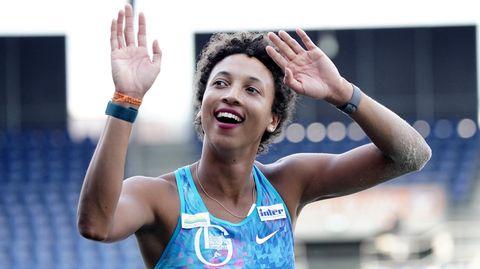 Malaika Mihambo jubelt in Braunschweig über ihre dritte deutsche Meisterschaft im Weitsprung