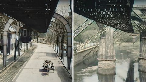 Aufnahmen aus dem Jahr 1902 zeigen die berühmte Wuppertaler Schwebebahn in Kolonialzeiten.