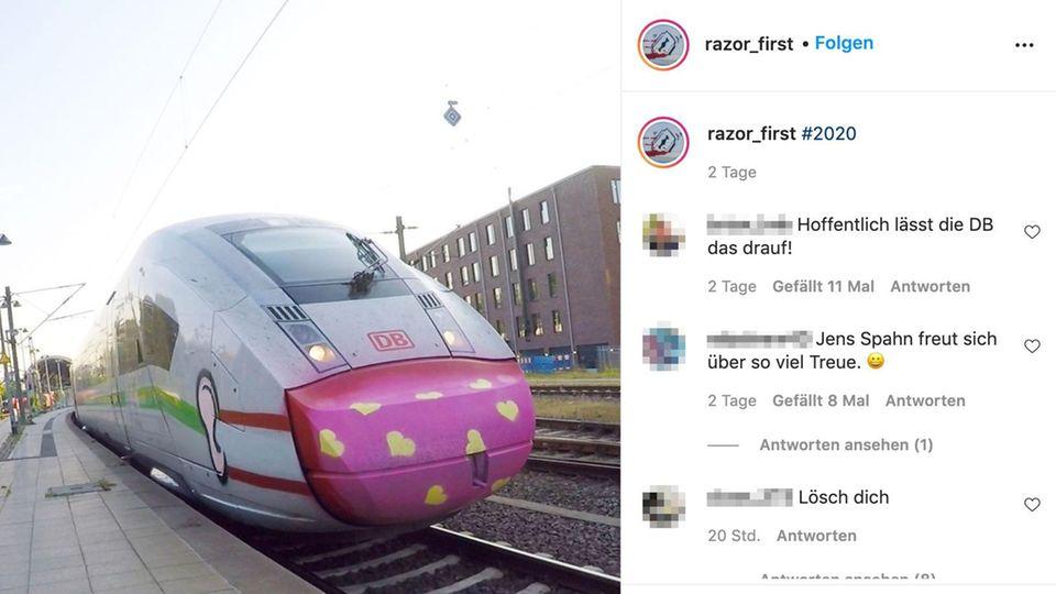Lob auf Twitter: Graffiti-Künstler sprüht Maske auf ICE – und sogar die Deutsche Bahn ist begeistert