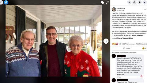 Das Ehepaar Raymond und Kathleen Atkins mit ihrem Sohn Les