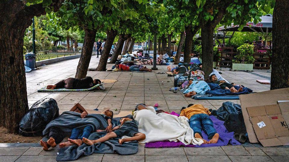 Flüchtlinge auf dem Athener Victoria-Platz