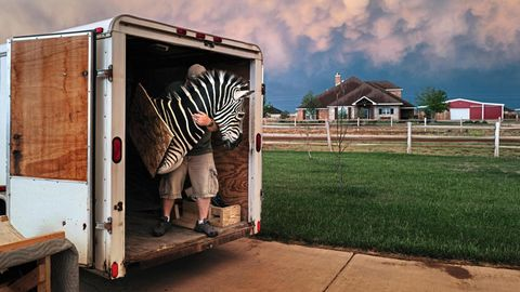 Ranchbesitzer Erik Grimland transportiert eine Jagdtrophäe