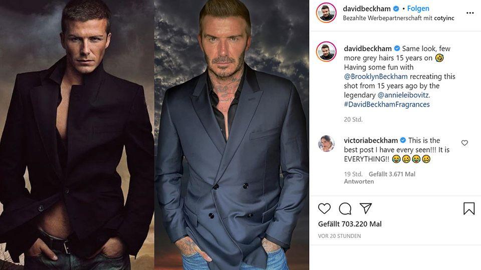 Vip News: David Beckham stellt 15 Jahre altes Foto nach