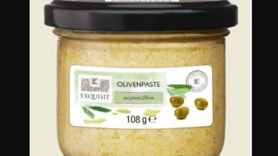 Rückruf von Olivenpaste