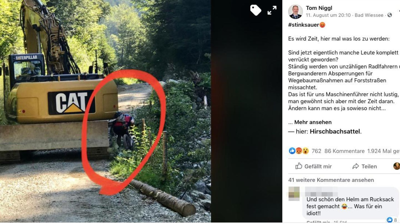 Screenshot Facebook: Mountainbiker drängelt sich an rechter Seite eines Baggers vorbei
