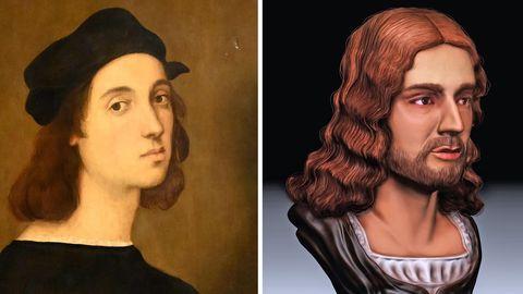 Das berühmte Portrait des Malers und daneben die Rekonstruktion