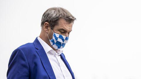 Bayerns Ministerpräsident Markus Söder (CSU) mit Maske