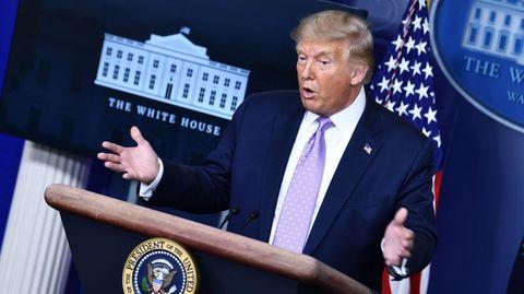 US-Präsident Donald Trump gibt im Brady-Briefing-Room des Weißen Hauses in Washington eine Pressekonferenz