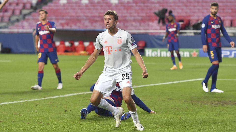 Champions League: Thomas Müller hatte im Viertelfinale der Champions League selbst zwei Tore gegen den FC Barcelona geschossen
