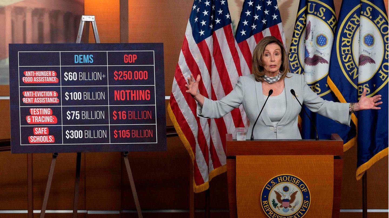 Nancy Pelosi bei einem ihrer wöchentlichen Pressebriefings