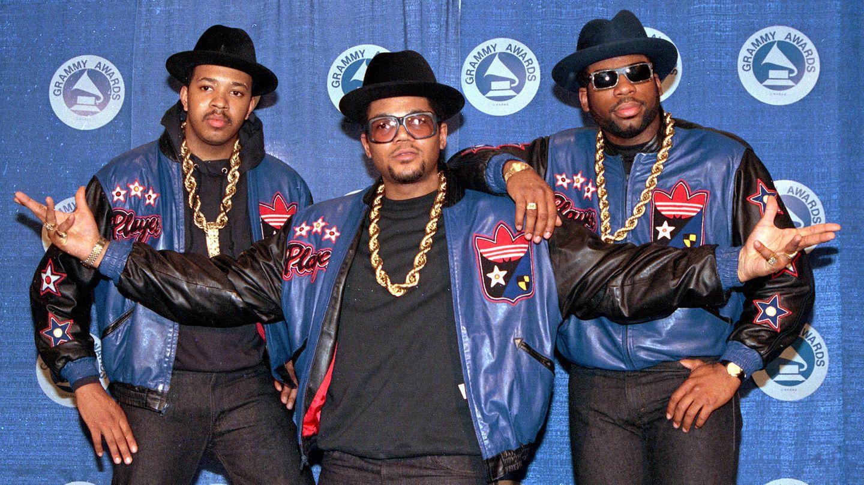 "Die Rap-Gruppe Run-DMC im Jahr 1988: Joseph ""Run"" Simmons (l.), Darryl ""DMC"" McDaniels (M.) und Jason Mizell ""Jam Master Jay"""