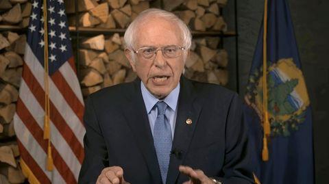 Bernie Sanders bei seiner Ansprachewährend des Parteitages der US-Demokraten