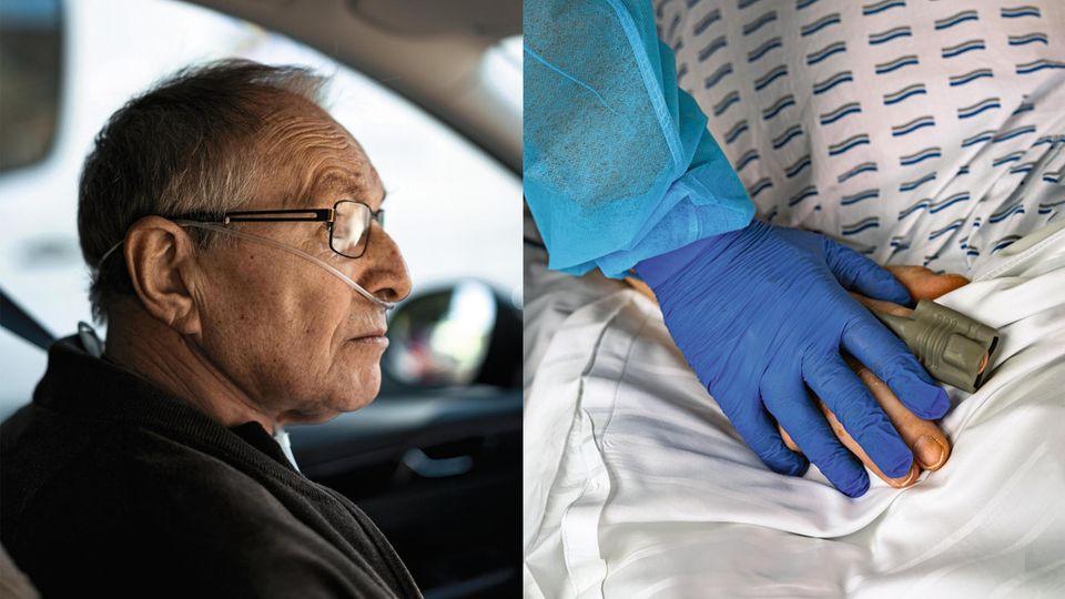 Wenzel D. auf dem Weg in die Reha-Klinik. Rechts: Klinikpersonal hält seine Hand