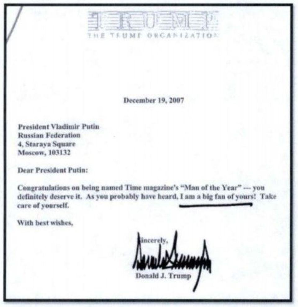 Donald Trump Brief an Wladimir Putin Ich bin ein großer Fan