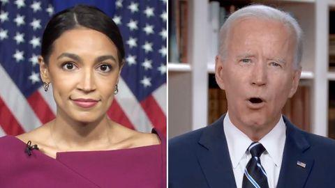 Alexandria Ocasio-Cortez und Joe Biden