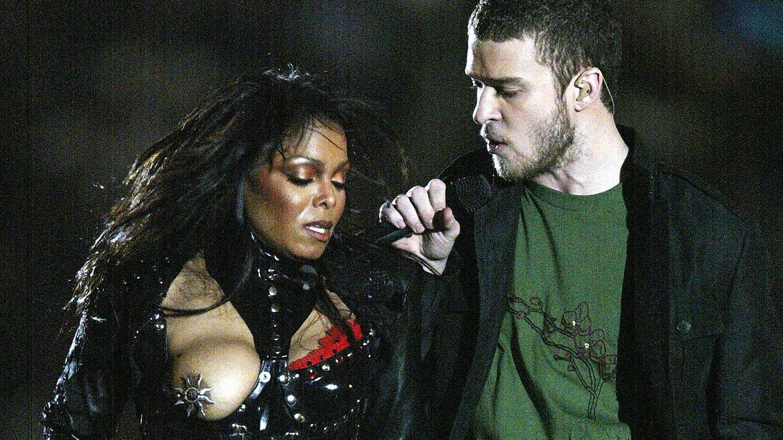 Janet Jackson und Justin Timberlake bei ihrem Super-Bowl-Auftritt im Februar 2004