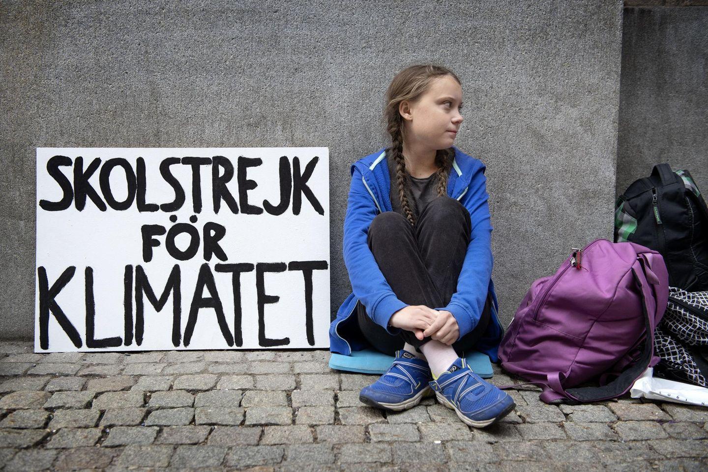 Schulstreik für das Klima: Greta Thunberg im August 2018 vor dem Schwedischen Reichstag in Stockholm