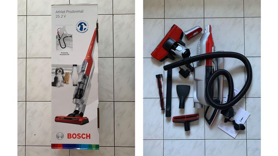 Der Bosch Akkusauger frisch aus der Packung