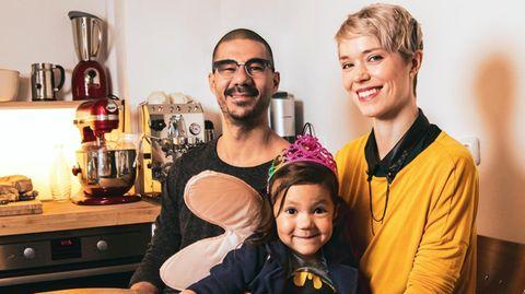 Dominique van de Pol mit ihrem Mann Joel und ihrer Tochter Noemi.