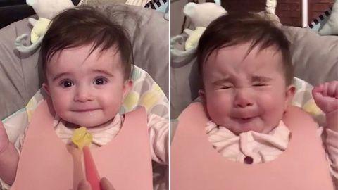 Niedliches Video: Baby verzieht beim Essen das Gesicht.
