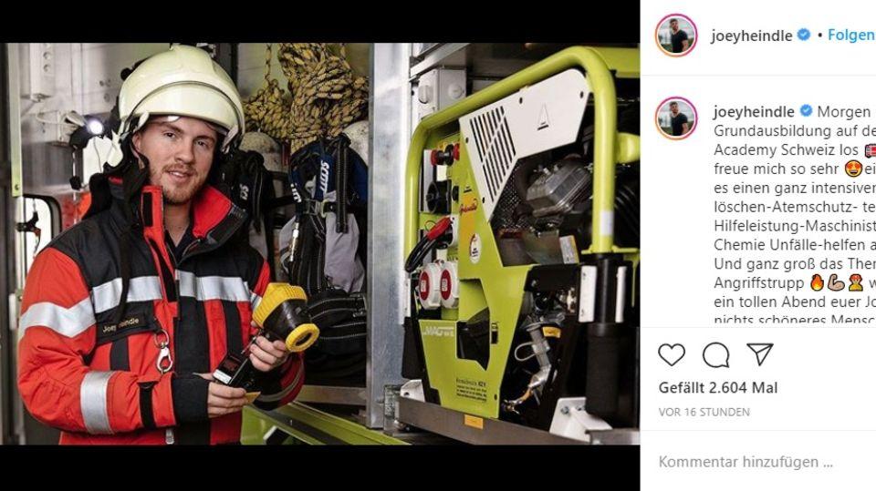 Joey Heindle macht in der Schweizeine Grundausbildung zum Feuerwehrmann