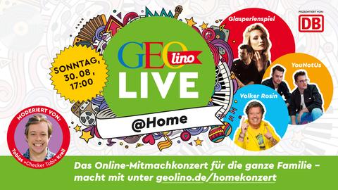 Am 30. August startet um 17 Uhr das Konzert von GEOlino, das Sie über diesen Link erreichen:geolino.de/homekonzert