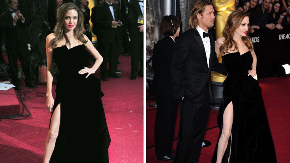 Angelina Jolies hochgeschlitztes Kleid sorgte 2012 für große Aufmerksamkeit