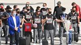Markus Söder und die Spieler des FC Bayern bei der Rückkehr in München nach dem Champions-League-Sieg