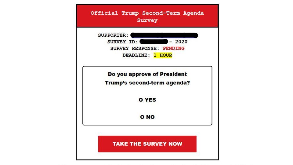 Umfrage zur Agenda für eine zweite Amstzeit in einer Team-Trump-E-Mail