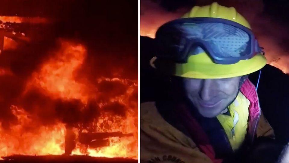 Kalifornien: Feuerwehrmänner im letzten Moment aus Flammen gerettet
