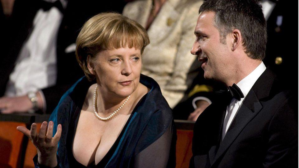 Bundeskanzlerin Angela Merkel am 12. April 2008 bei der Eröffnung der Osloer Oper