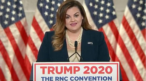 Abby Johnson, hier bei ihrer Video-Ansprache auf dem Parteitag der US-Republikaner