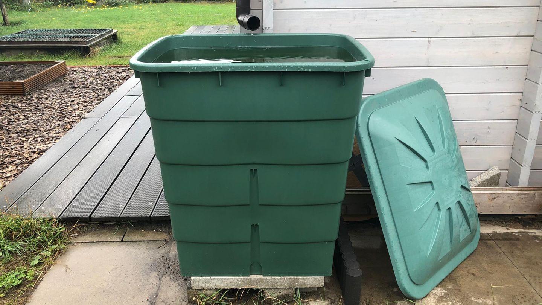 Regenwasser sammeln: Grüne Regentonne mit Deckel steht hinter einer Gartenlaube